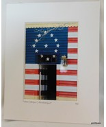Photograph Matted Patriotic Stars and Stripes Doorway Maine Dressel 2007 - $16.40