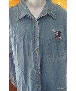 Mickey Unlimited Long Sleeve Denim Shirt with Embroidery 22-24W 100% Cotton - $30.40