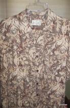 Men's Hawaiian Shirt Bill Blass 100% Silk  Large Taupe and Burgundy - $23.00