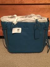 NWT COACH TATUM WHIPLASH TOTE SHOULDER BAG IN TEAL LEATHER 34398 + DUST BAG - $350.00