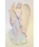 Porcelain Heavenly Angel Figurine Playing A Harp - $49.00