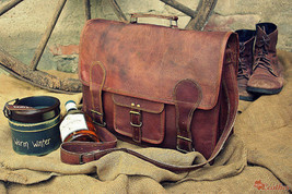 Men's Vintage Brown Leather Briefcase Laptop Bag Messenger Handbag Brief... - $62.37