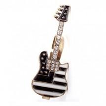 Vintage Rhinestone Mini Guitar Knuckle Cocktail Ring - $2.99