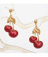 Avon Art Moderne Enamel Cherry Earrings - $12.95