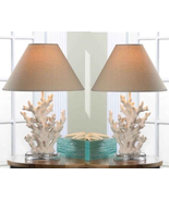 2 IVORY WHITE CORAL TABLE LAMPS Round Base Beige Neutral Shade Beach Oce... - $100.99