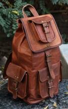 Men's Vintage Leather Rucksack Shoulder Laptop bag Backpack School trave... - $59.80