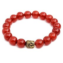 Red Agate Stone Energy Beads Bracelet Men Woman Yoga Prayer Golden Buddh... - $19.95