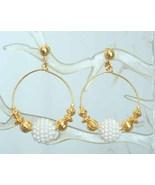 Avon Elegant Faux Pearl Gold-tone Hoop Clip Ear... - $12.95