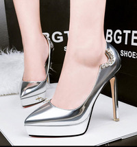 pp175 Elegant candy color rhienstones pumps, size 34-39, silver - $58.80