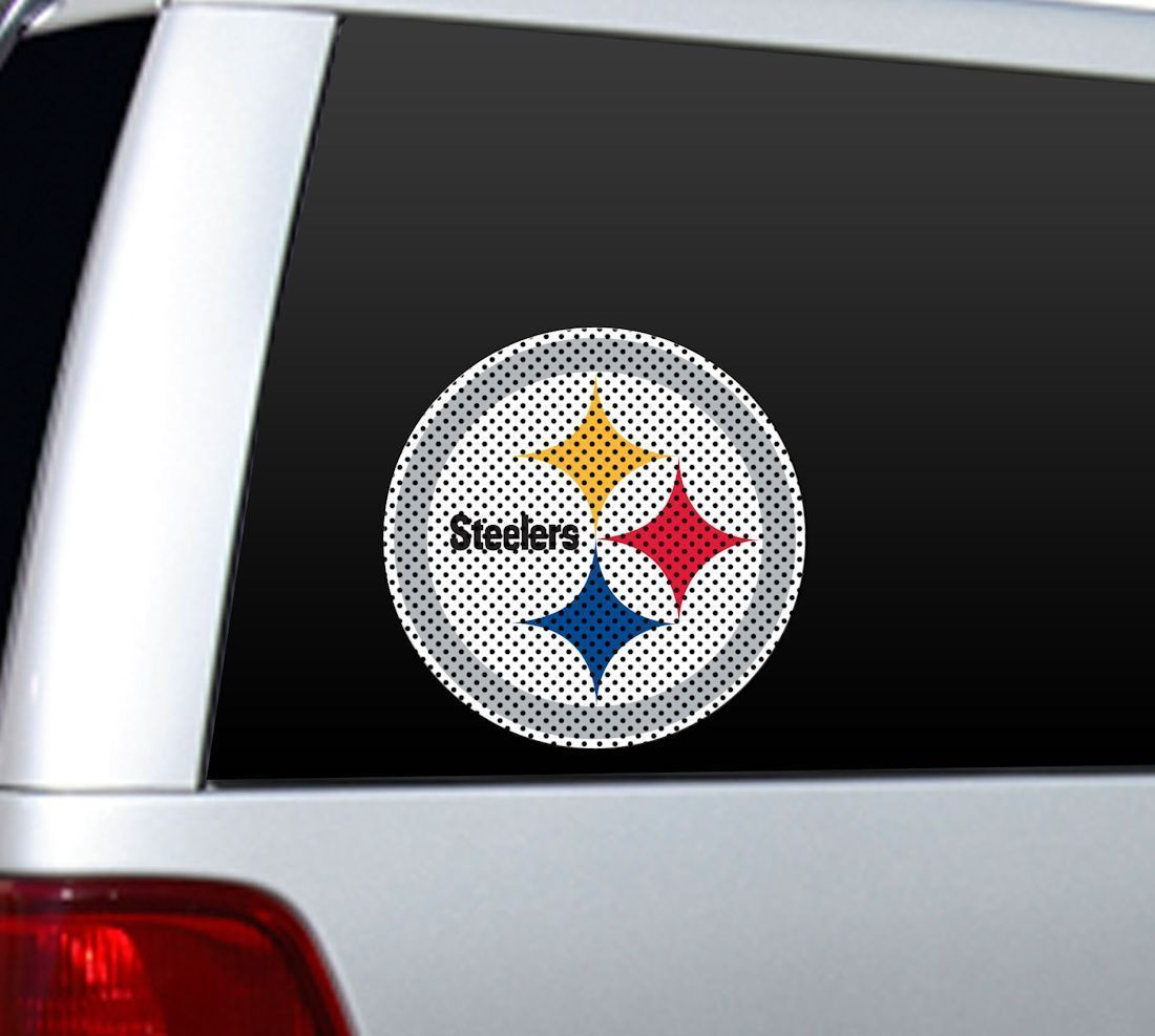 "BIG 10"" PITTSBURGH STEELERS CAR HOME PERFORATED WINDOW FILM DECAL NFL FOOTBALL"
