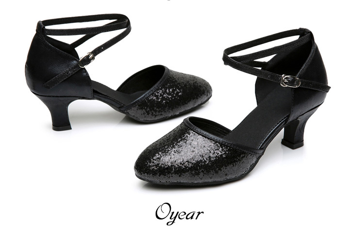 Primary image for pp170 Shimmering dancing strappy pump, heels 3,5,7 cm,size 33-41, black