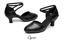 pp170 Shimmering dancing strappy pump, heels 3,5,7 cm,size 33-41, black - $42.80