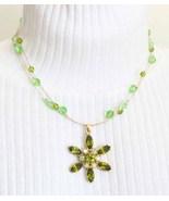 Elegant Chartruese Rhinestone & Cut Glass Necklace - $17.95