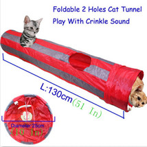 130CM Foldable Cat Pet Tunnel Two holes Play Crinkle Sound Kitten Tube Toy - $22.99