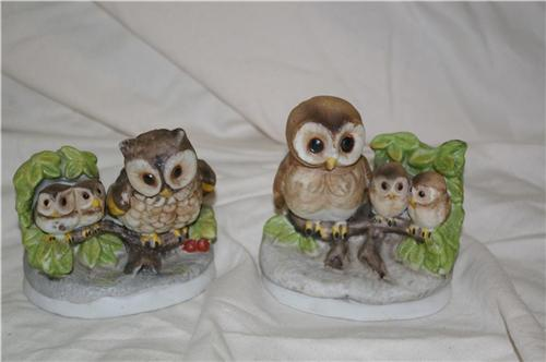 Homco Mother Owl and Young Pair 1298 Home Interiors