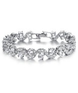 Platinum Plated Swarovski Elements Cubic Zirconia bracelet For women - £18.30 GBP