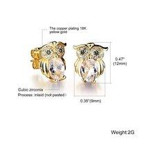 Cute Owl Animal Design Shining Cubic Zirconia Rhinestone Stud Earrings - $15.99