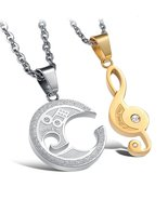 Matching Set Titanium Steel Couple Pendant Love Style Necklace - £18.30 GBP
