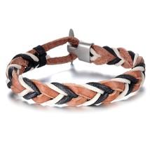 Braided Genuine Leather Men's Cuff Bracelet Wristband - $12.99