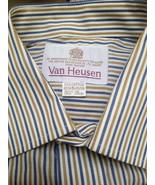 New Van Heusen 15 1/2 Dress Shirt White Blue Striped Short Sleeve Easy Care - $16.63