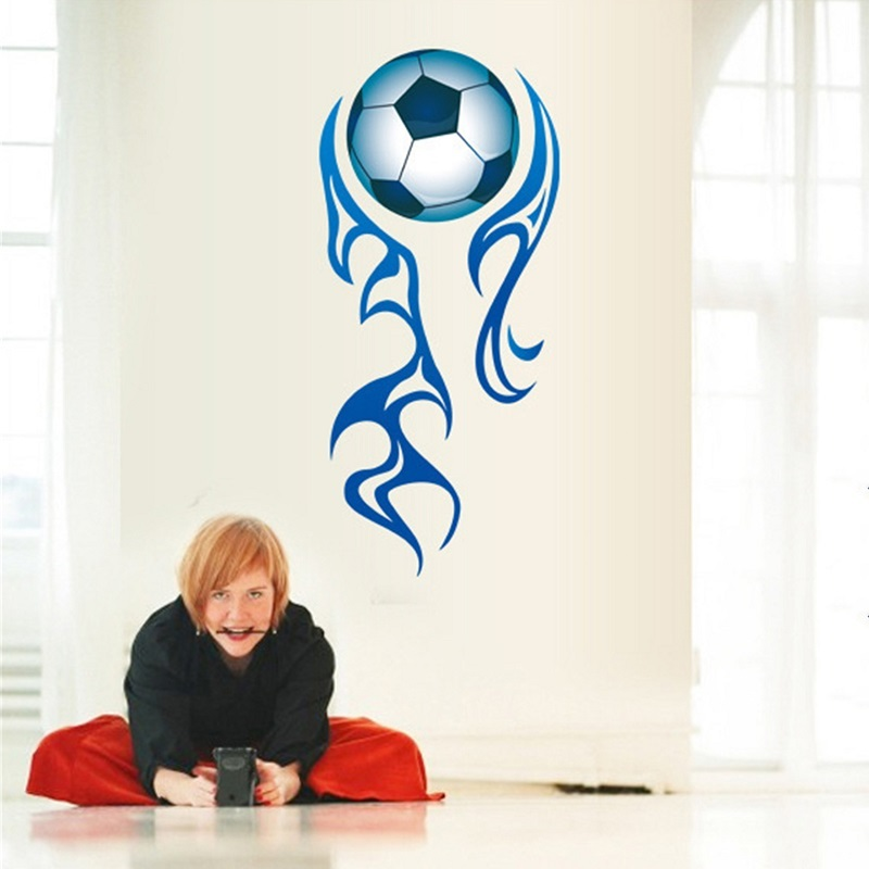 boy playing soccer creative wall stickers football kids. Black Bedroom Furniture Sets. Home Design Ideas