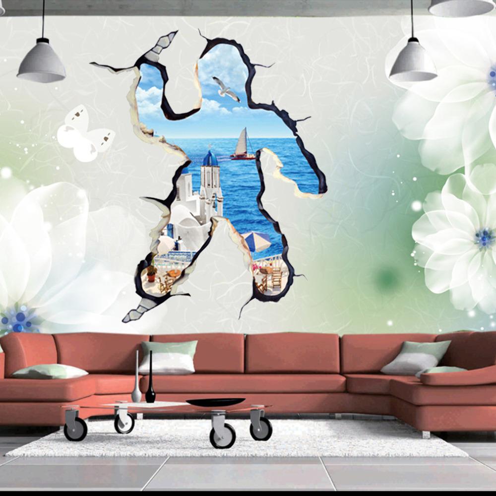 Creative 3d aegean sea wall sticker art decal mural for Creative mural designs