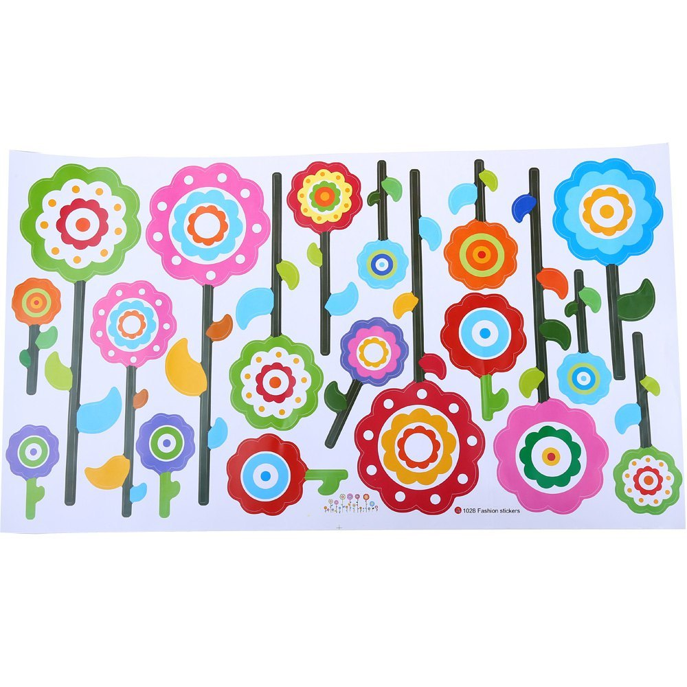 Flowers art decal removable wall stickers mural home decor for Children s mural