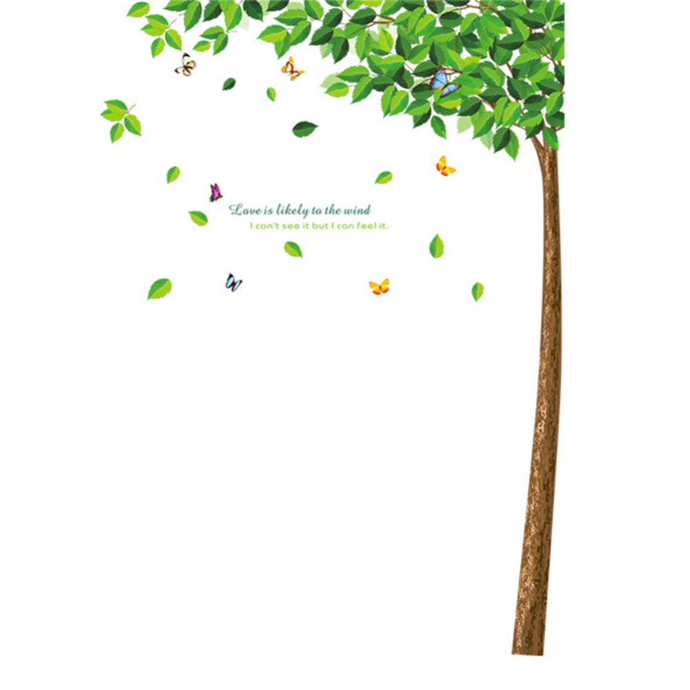 Green tree vinyl pvc wall decals removable diy wall for Diy tree wall mural