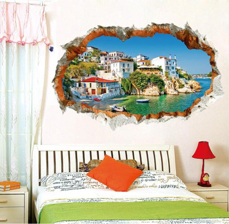 European construction 3d wall sticker mediterranean sea for Construction mural