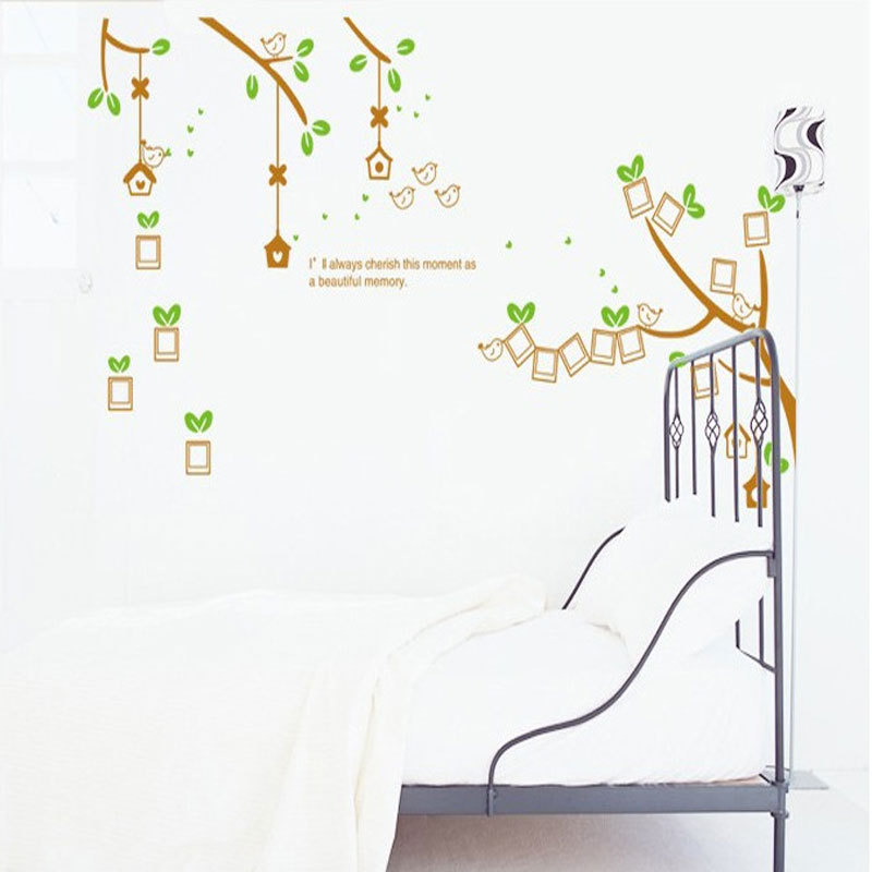 Diy photo frame tree flower kids art mural wall sticker for Diy photographic mural