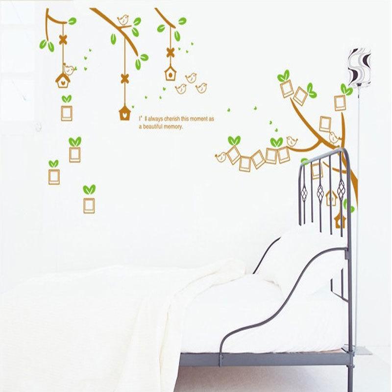 Diy photo frame tree flower kids art mural wall sticker for Diy tree wall mural