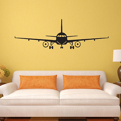 Airplane aircraft wall stickers decals home kids bedroom for Aeroplane wall mural