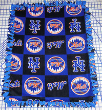 "New York Mets Baby Blanket Fleece Pet Lap Black Blue 30""x 24"" MLB Baseball - $39.95"