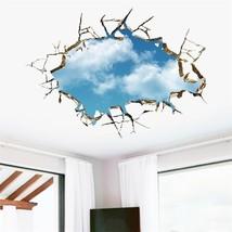 vivid creative 3D window hole landscape blue sk... - $12.37