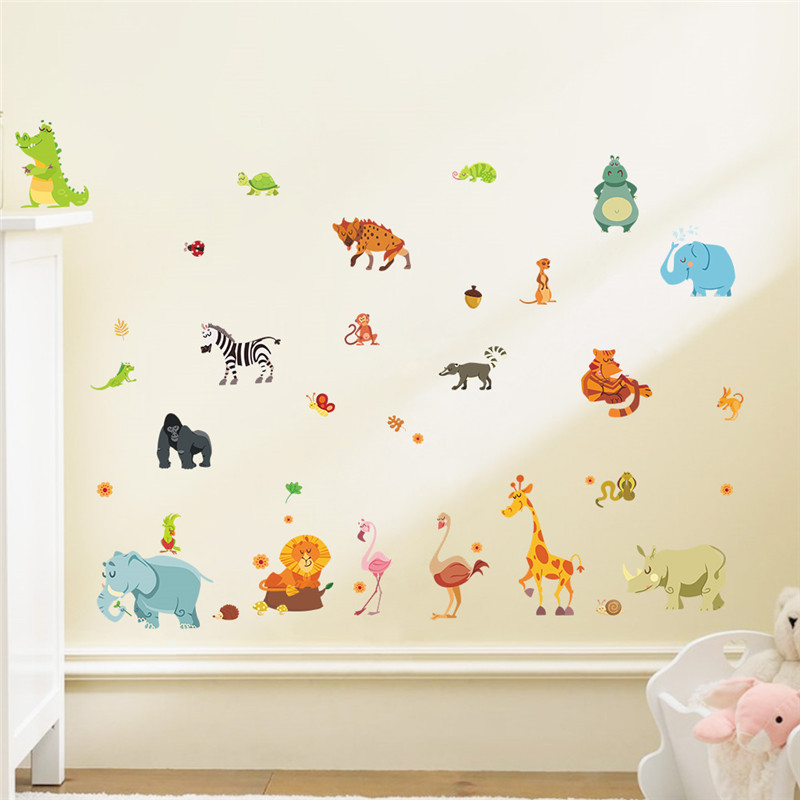Jungle animals wall stickers for kids rooms safari nursery - Stickers repositionnables chambre bebe ...