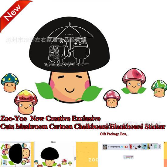 Send Boxed Chalk Cartoon Mushroom Head Blackboard Wall