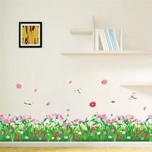spring pink flower green grass dragonfly butter... - $10.91