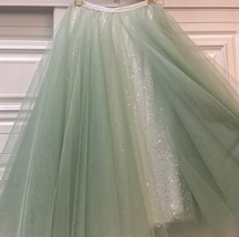 Carrie Bradshaw Tulle Skirt Outfit Plus Size Midi Tulle Green Tutu Holiday Skirt image 7