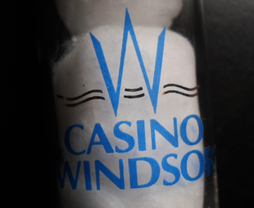 Casino Windsor Shot Glass Tall Size Heavy Base Blue Gold W Logo on Clear Glass