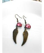 Angel Wing Pink Heart Gem Earrings Glass Gem Earrings Antique Brass Wing... - $32.00