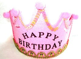 Princess Happy Birthday Headband - Pink with Gold Accents - $7.99