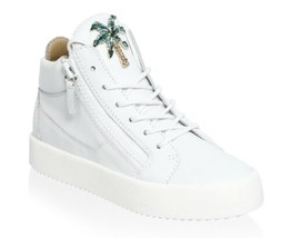 Giuseppe Zanotti Women's White May London Palm Tree Leather Sneakers Siz... - $350.63