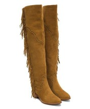 New $578 Womens 9.5 Frye Suede Leather Boots OTK Tall Knee Fringe Ray Camel Tan image 2