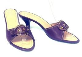 Franco Sarto Mule Sandals 10M Open-Toe Heels Brown Pebbled Leather Buckl... - $21.11