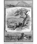 PORT JERVIS New York  Roebling Bridge D & H Canal - 1883 German Print - $21.60