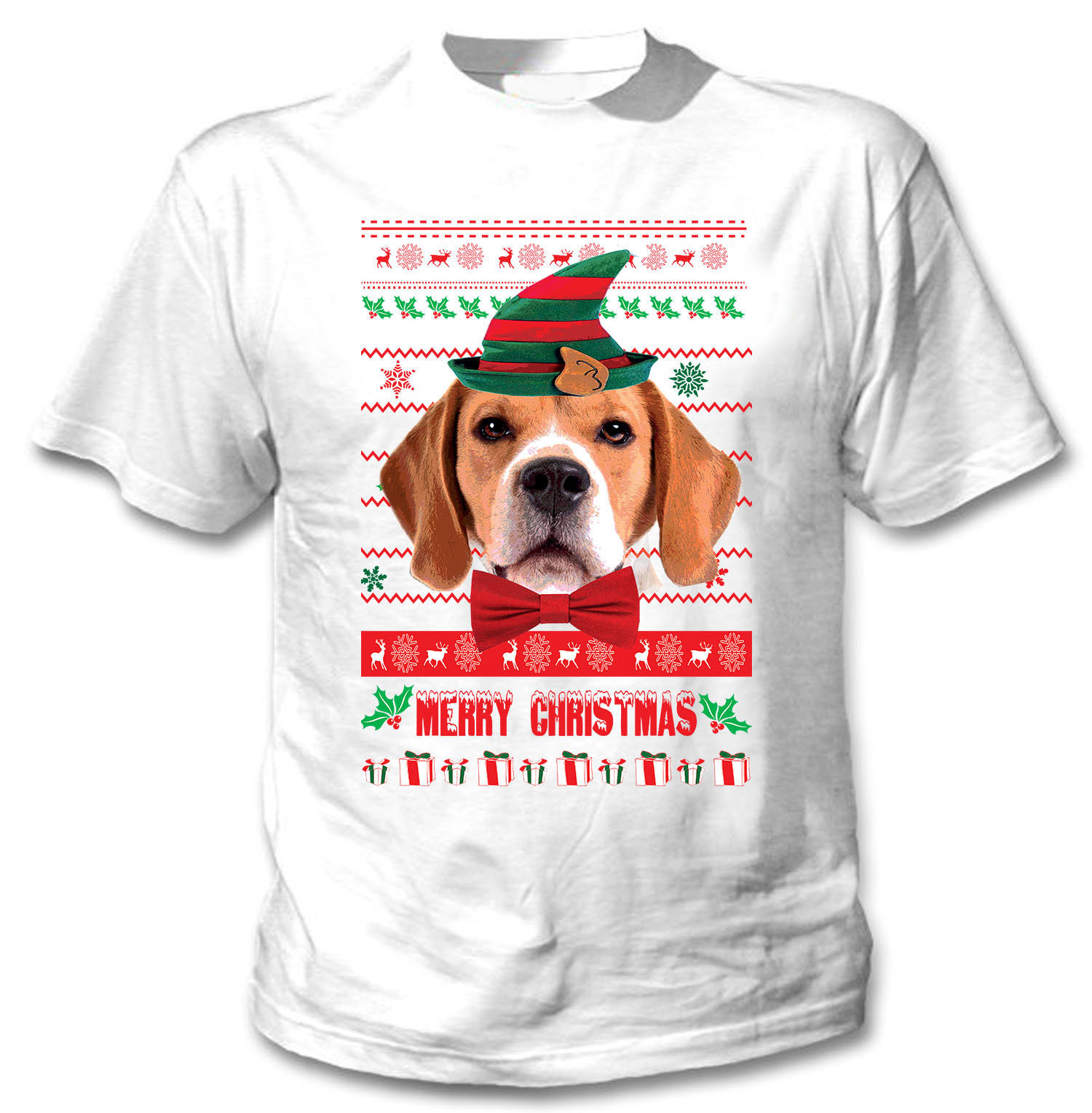 CHRISTMAS BEAGLE - NEW COTTON WHITE TSHIRT
