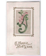 Pink Flowers Silk New Year 1910c postcard - $9.90