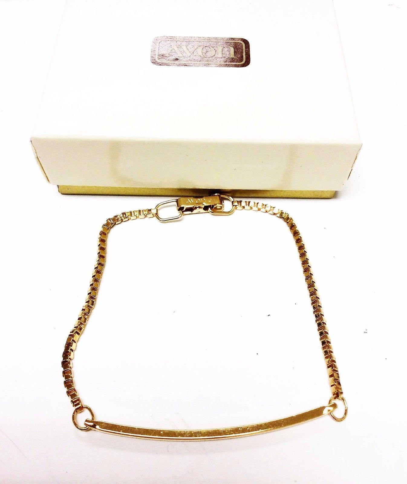 AVON Gold Tone Reversible Chain Bracelet Fashion Bracelet 6.5''
