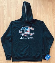 NEW Champion Limited Edition American Flag Black Hoodie Sweater Size Medium NWT - $79.19
