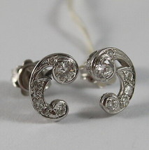 SOLID 18K WHITE GOLD EARRINGS, ETHNYC STYLE WITH DIAMONDS, DIAMOND MADE IN ITALY image 2